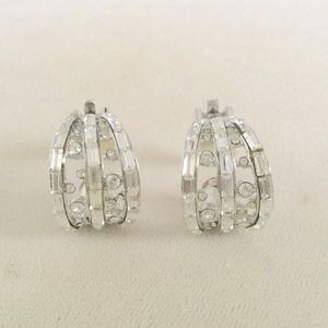 JUST IN St. John Rhinestone Clip Earrings